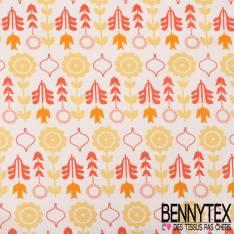 Toile Lorraine 100% Coton 280 Cm Modèle BLOMMA Ton Orange