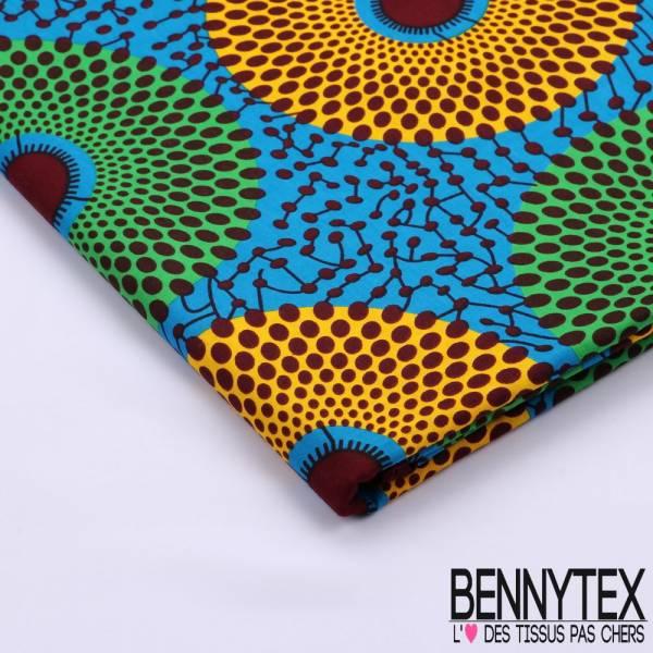 Wax Africain N°084 : Cercle Ton Bleu et Vert