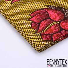 Wax Africain N°087 : Quadrillé Et Fleurs