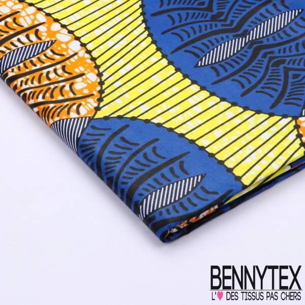 Wax Africain N°090 : Motif Ovale Jaune et Bleu