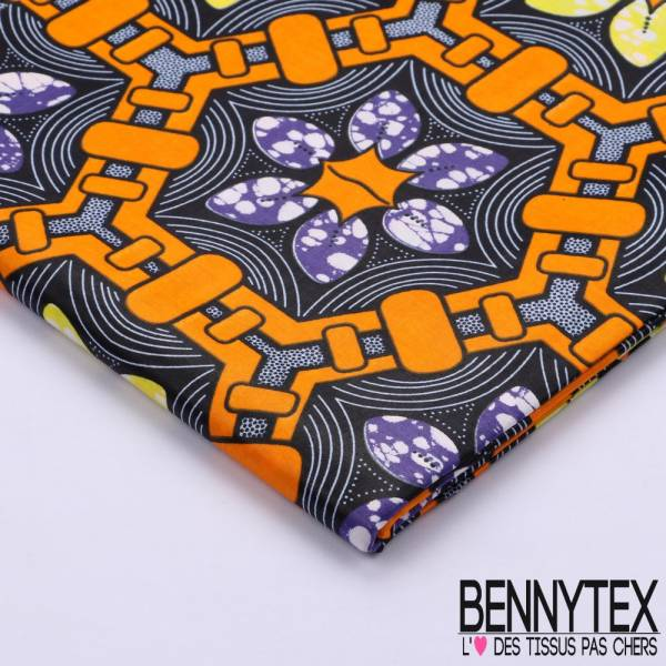Wax Africain N°092 : Motif Hexagonal ton Orange