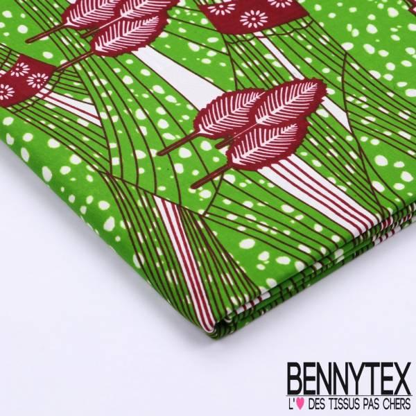 Wax Africain N°094 : Motif Feuilles ton Vert