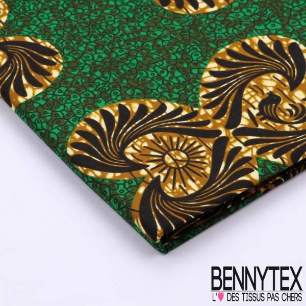 Wax Africain N°097 : Motif Elliptique Ton Vert