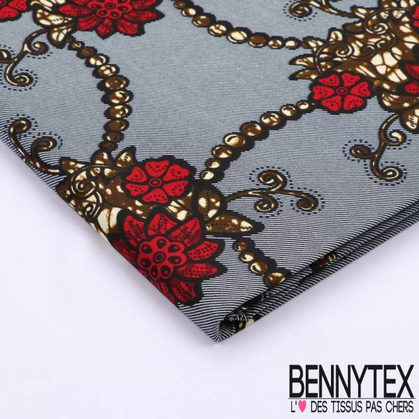 Wax Africain N°099 : Motif Floraux Fond Rayure Oblique