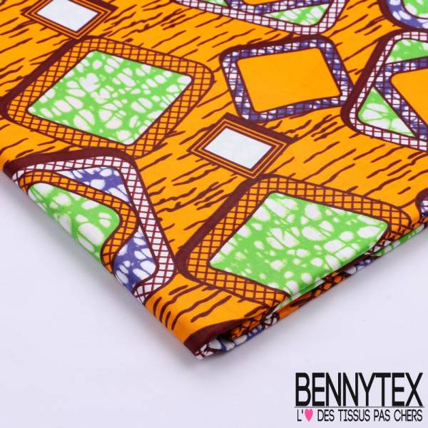 Wax Africain N°100 : Motif Graphique Ton Vert Bleu Orange
