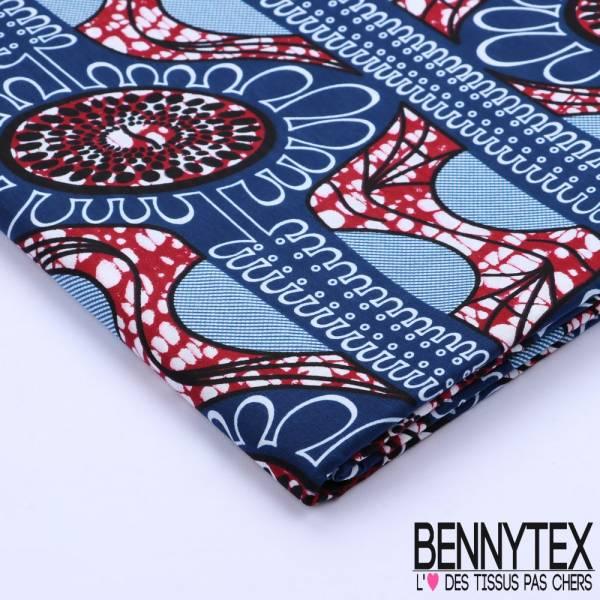 Wax Africain N°102 : Motif Graphique et Cercle Ton Bleu
