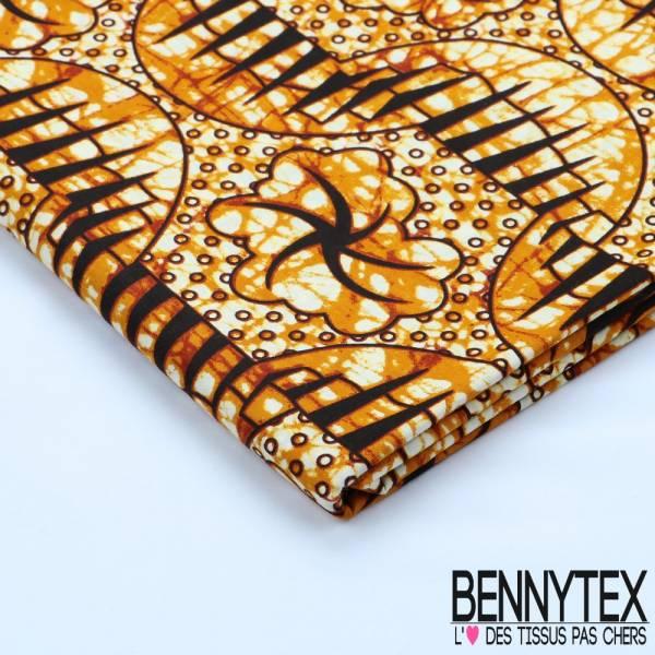 Wax Africain N°107 : Motif Ton Bronze et Noir