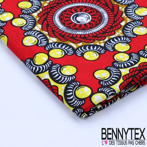 Wax Africain N°110 : Motif Perles Jaunes