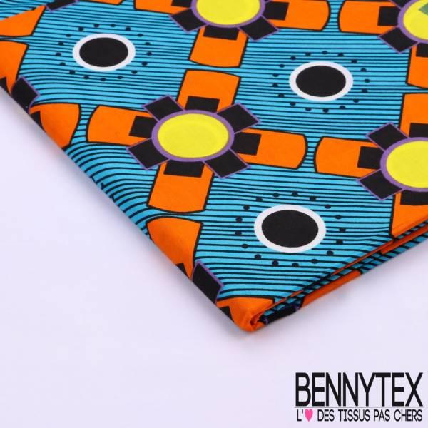 Wax Africain N°111 : Motif Plus Orange Et Jaunes