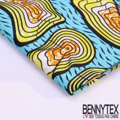 Wax Africain N°112 : Motif Ondulé Jaune orange blanc fond Turquoise
