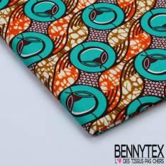 Wax Africain N°113 : Motif Cercle ton vert emeraude