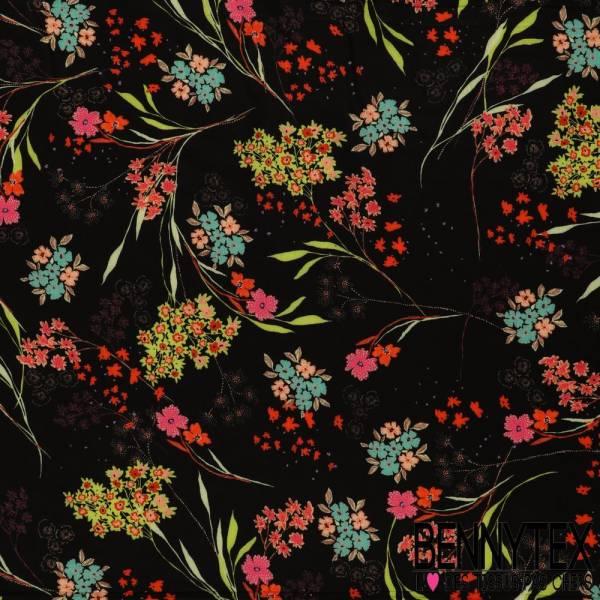 Fibranne Viscose Imprimé floral Sauvage Fond noir