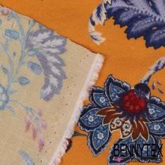 Fibranne Viscose Imprimé Fleurs esprit Cachemire Fond Safran