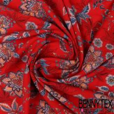 Fibranne Viscose Imprimé Fleurs esprit Cachemire Fond Rouge