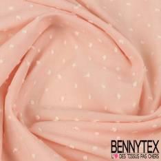 Plumetis De Coton Couleur Rose Dragé