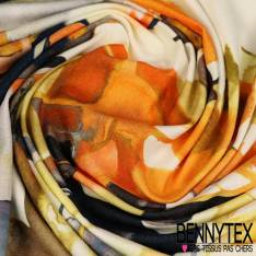 Jersey Viscose imprimé Fleurs Esprit Naïf Fond Blanc