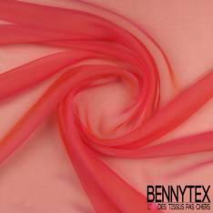 Mousseline de Soie Rose Fluo irisée Mandarine