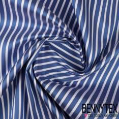 Taffetas épais Fine rayure coloris bleu et blanc esprit Marin