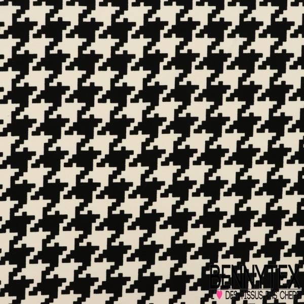 Triple Crêpe Polyester Imprimé Pied de coq Noir et Blanc