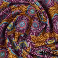 Gabardine Coton Imprimé Fleurs Ethnic fond fantaisie Moutarde,Kaki et orchidée