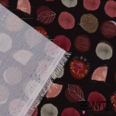 Double Crêpe Polyester Imprimé pois et feuilles fond noir esprit Rétro