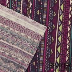 Toile Lorraine Imprimé Motif Aztèque fond Myrtille