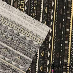 Toile Lorraine Imprimé Motif Aztèque fond Noir