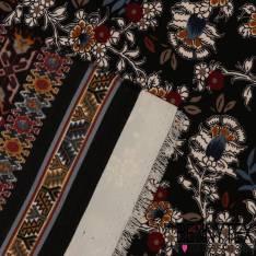 Microfibre Imprimé Motif Inca fond Noir
