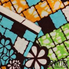 Wax Africain N°127 : Motif Fleurs effet champêtre ethnic lagon Fond marbré vert anis, bouton d'or