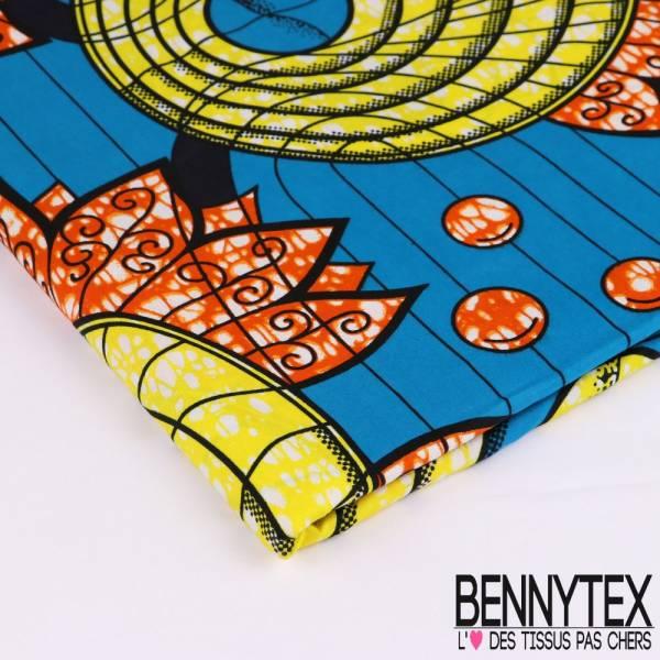 Wax Africain N°126 : Motif Rond avec des Ailes effet marbré jaune orange Fond Bleu magnétique