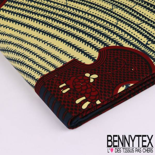 Wax Africain N°124 : Motif Spirale Ethnic bordeaux et navy Fond jaune pâle et marine