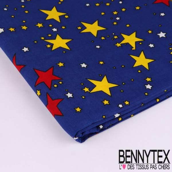 Wax Africain N°123 : Motif Etoiles rouge jaune et blanche Fond ciel bleu roy