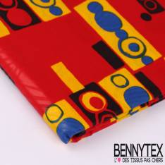Wax Africain N°122 : Motif Rond et rectangle imbriqués bleu roy, rouge et jaune fond Rouge enduit
