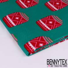 Wax Africain N°121 : Motif Jarre impié géométrique rouge et rose Fond émeraude enduit