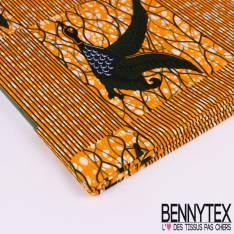 Wax Africain N°119 : Motif Oie sauvage en vol olive et marine Fond marbré orange et blanc