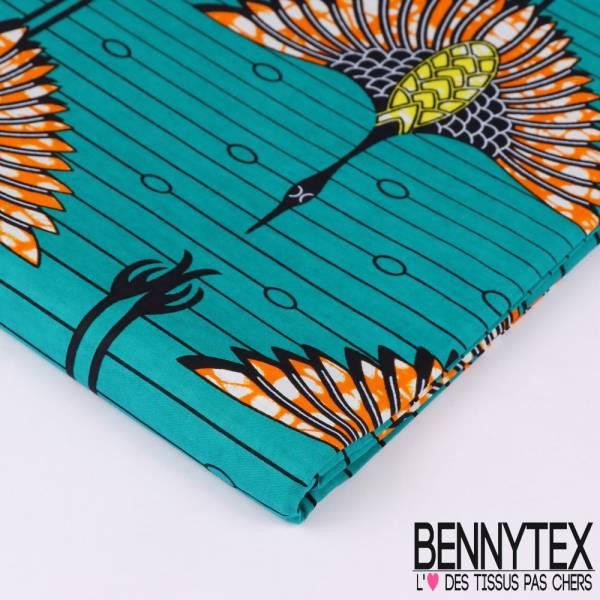 Wax Africain N°117 : Motif Envol de grue orange, jaune et noir Fond Emeraude