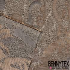 Brocart Motif Rococo baroque Or vieilli Fond Gris perle lamé