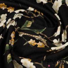 Coton Satin Elasthanne Imprimé Fleurs de cerisier Fond noir