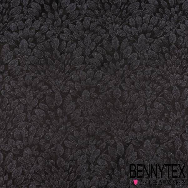 Stretch Polyamide Tissé teint motif Ptite feuille noir pailleté fond Indigo pailleté