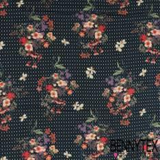 Fibranne Viscose Imprimé Pyjama et bouquet Fleurs champêtre fond navy