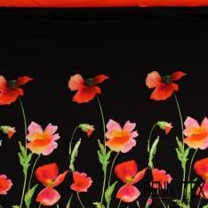 Panneau Jersey Viscose Imprimé coquelicot en lavis fond noir et bande rouge