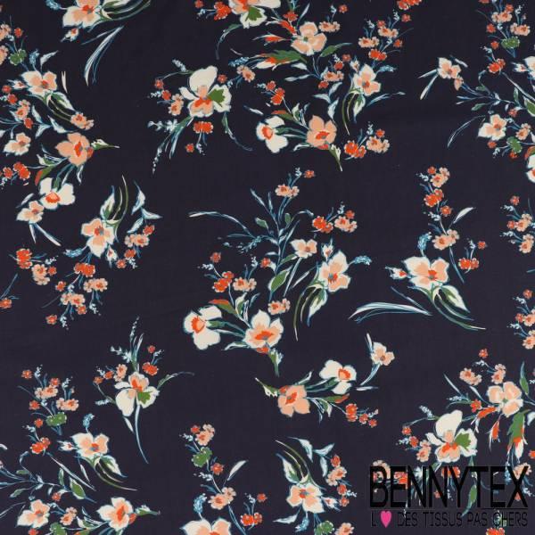 Coton Imprimé Motif petites fleurs des champs Vermillon et Azur fond marine