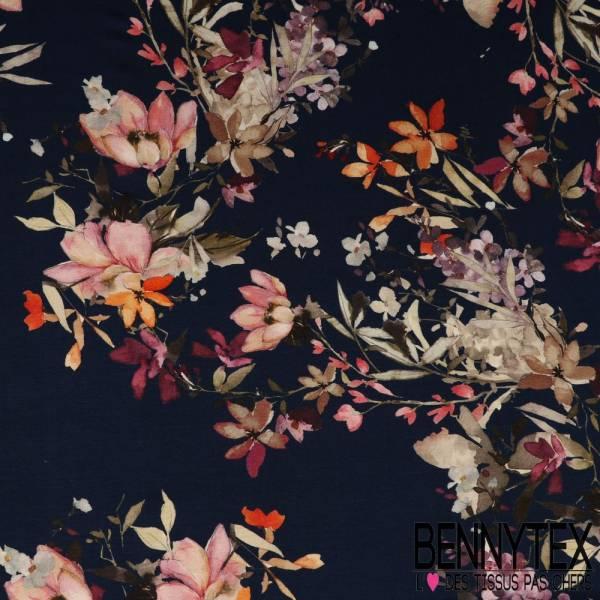 Jersey Viscose Imprimé bouquet de Fleurs Romantiques fond marine
