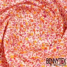Coton Imprimé Petites Fleurs Camaïeu de Rose Fond blanc