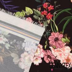 Crêpe Polyester Imprimé Motif Japonisant Pivoine et Héron Fond Noir