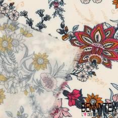 Fibranne Viscose Imprimé Motif Fleurs Arabesque Fond Blanc