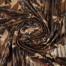 Plissé Polyester Imprimé Motif Camouflage Pailleté doré