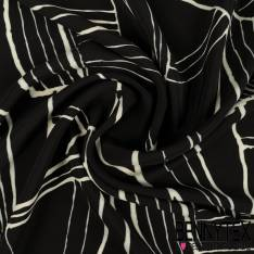 Crêpe Viscose Imprimé Graphique tracé irrégulier blanc fond noir