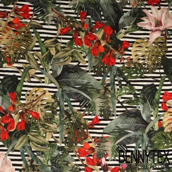 Fibranne Viscose Imprimé Fleurs tropicales sur fond rayé noir et blanc