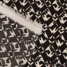 Fibranne Viscose Imprimé Losange stylisé blanc fond noir